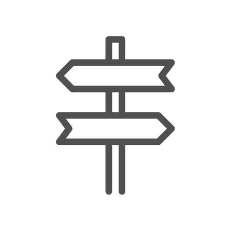 Signpost, pointer outline icon. Road Direction sign simple line symbol. Linear style icon. flat design element. Editable stroke. 48x48 Pixel Perfect