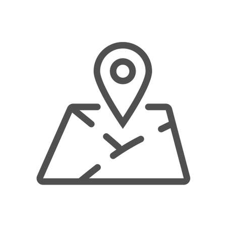 Mark on the map icon. location mark on printed map sign. Linear style. Flat design element. Editable stroke. 48x48 Pixel Perfect.