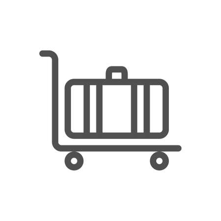 Luggage trolley flat line icon. Linear style icon. flat design element. Editable stroke. 48x48 Pixel Perfect. Ilustração