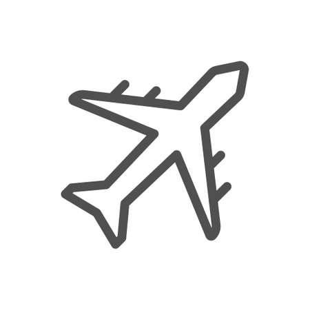 Plane vector icon, airport and airplane pictogram symbol. Passenger plane. Linear style icon. flat design element. Editable stroke. 48x48 Pixel Perfect.