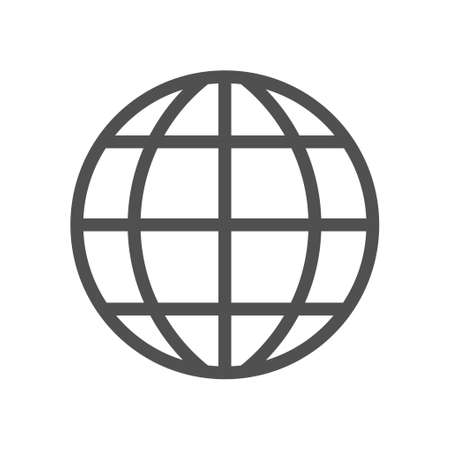 Earth globe vector icon symbol isolated on white background. Thin linear network graphic pictogram for web site, mobile application. Linear style icon. Flat design element. Editable stroke. 48x48 Pixel Perfect