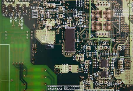 miniaturization: Printed circuit board (close-up photo) Stock Photo