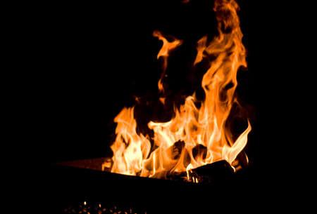 brazier: fire in metal brazier Stock Photo