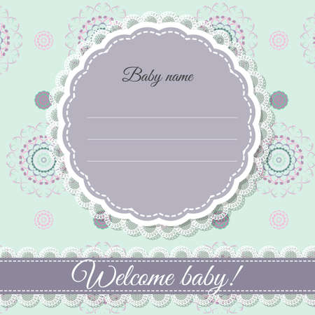 Greeting card for the birth of a baby (purple and mint)