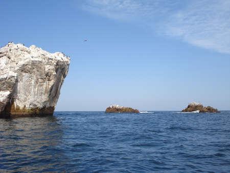 Piękne skały z ptaków w oceanie
