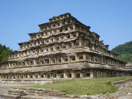 niches: Pyramid of the niches in the archaeological site of Tajin, Mexico