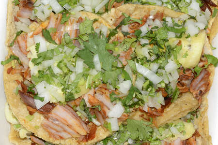 Mexican cuisine Athentic tacos Pork food photo