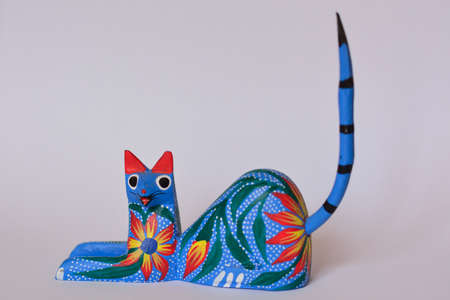 handimade: Colorful cat alebrije, Mexican artcraft Stock Photo
