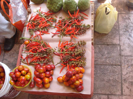 autochthonous: Exotic fruits and flowers in a Mexican market Stock Photo