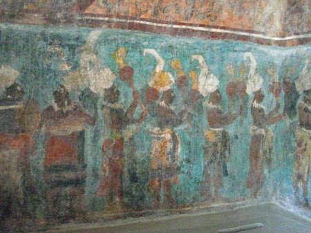 ボナンパック遺跡でチアパス、メキシコのカラフルな壁画
