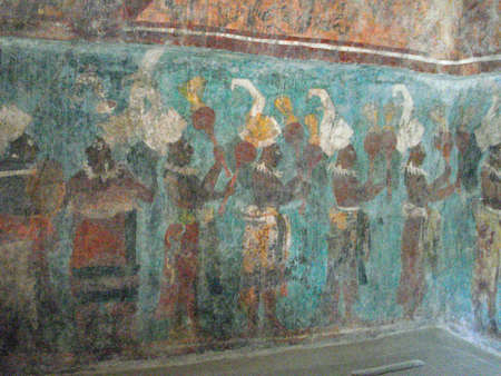 The colorful mural of Bonampak, archeological site in Chiapas, Mexico