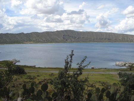 crater lake: Alchichica crater lake in Puebla, Mexico