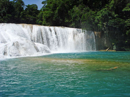 azul: Cascadas de Agua Azul or Blue-water Falls in Chiapas, Mexico Stock Photo