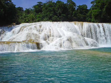 azul: Cascadas de Agua Azul or Blue-water Falls in Chiapas, Mexico 2 Stock Photo