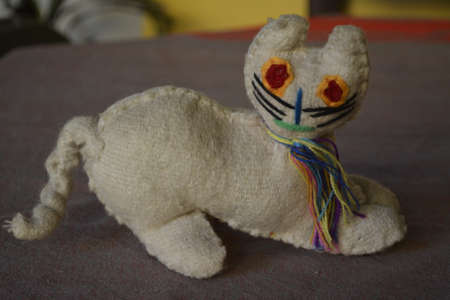 Cat plush toy traditional mexican artcraft