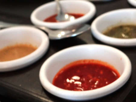 sauces: Spicy hot mexican sauces pepper salsa Stock Photo