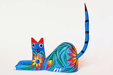 Colorful cat alebrije Mexican artcraft