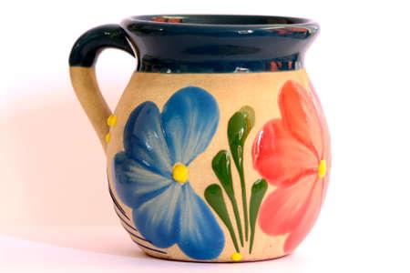 メキシコ陶器、花飾り付きカップ