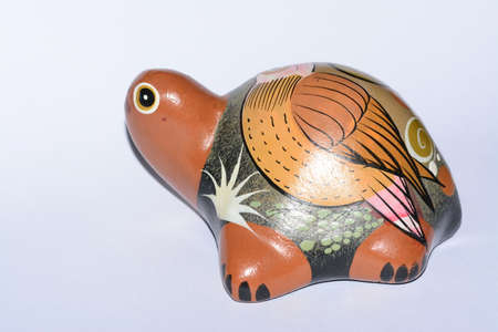 folkloristic: Mexican ethnic clay painted turtle artcraft