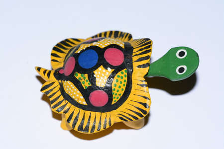 folkloristic: Colorful Mexican ethnic turtle wooden artcraft Stock Photo