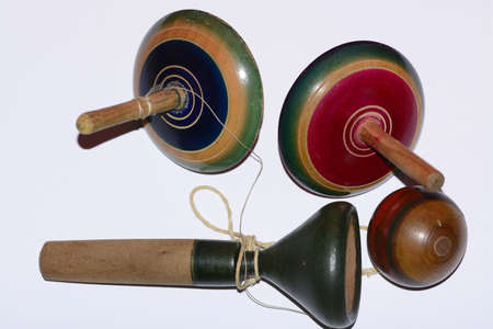 Mexican traditional toys, colorful spinning wooden tops