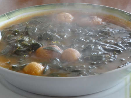 sopa: Chipilin soup, traditional mexican cuisine from Chiapas