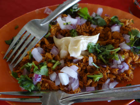 tunafish: Tuna fish minilla dish, mexican traditional cuisine Stock Photo