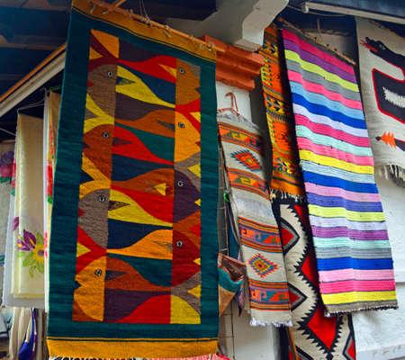 red carpet background: Mexican textile artcrafts, colorful souvenir