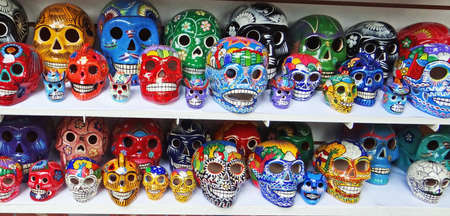 Mexican skull artcraft, colorful souvenir, day of death
