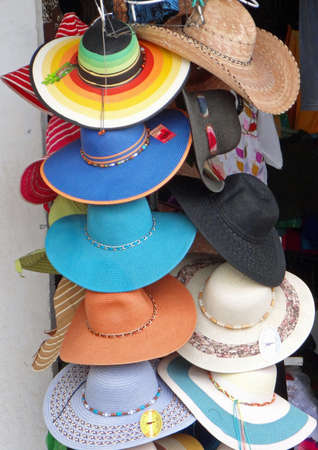 handimade: Mexican sombreros, colorful hat artcraft Stock Photo