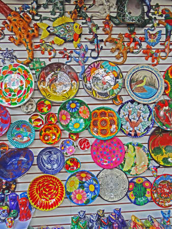 Mexican ceramics, colorful artcraft, beautiful souvenirs