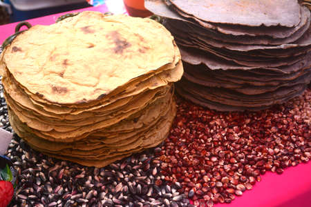 Mexican traditional corn huge tortilla for Tlayuda, an ethnic food from Oaxaca state Standard-Bild