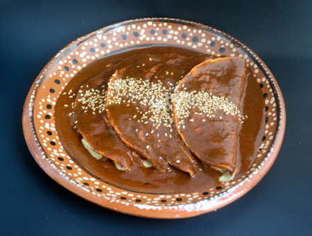 Delicious Mexican enchiladas, chicken or turkey tacos with mole sauce and sesame seeds for traditional festivities