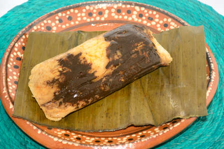 Mexican mole tamal from Oaxaca on dish for Candelaria Day celebration 版權商用圖片