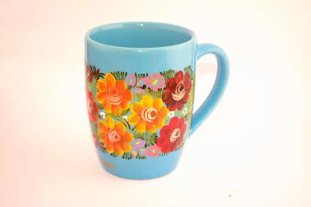 チアパス州から手描きの花のメキシコカップ