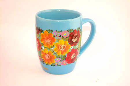 Hand painted floral mexican cup from Chiapas state