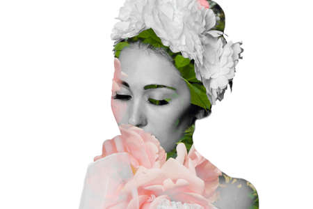 modesty: Close-up portrait of beautiful woman bride with flower wedding wreath on white background.  Fashion illustration. Flower art motive,  ornament. Tenderness. Dreaming. Romantic style.