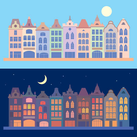 Old city buildings. Day and night cityscape. Vector flat illustration