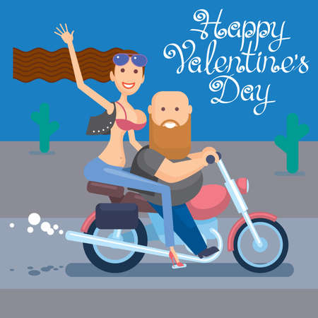 Happy Valentines Day. Bikers Valentines day. Fun bikers riding motorcycle. Boy and girl riding on a motorcycle.