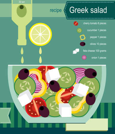 Vector illustration on color background featuring recipe of greek salad, infographics Ilustracja