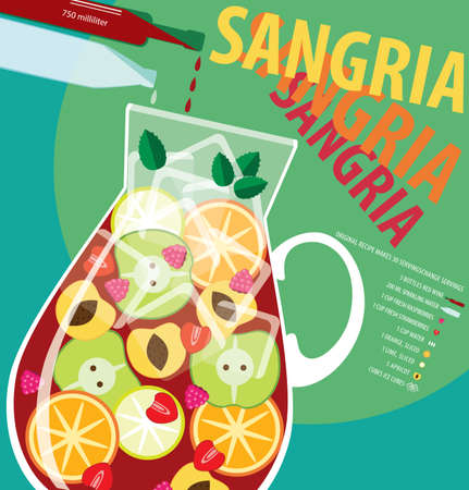 sangria: Vector illustration on color background featuring recipe of sangria, infographics