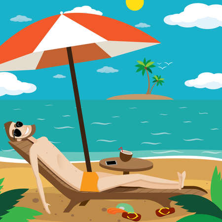 repose: Vector illustration on color background featuring man sunbathing on the beach of the island and drinking a cocktail