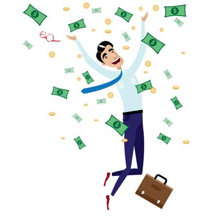 gente exitosa: Ilustraci�n vectorial sobre fondo blanco con feliz hombre de negocios que salta con el dinero, monedas y malet�n