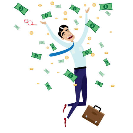 Vector illustration on white background featuring happy businessman jumping with money, coins and briefcase