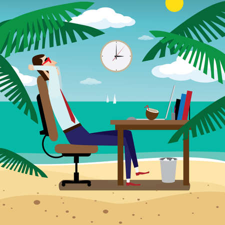 Vector illustration on color background featuring workplace businessman presents itself on the beach
