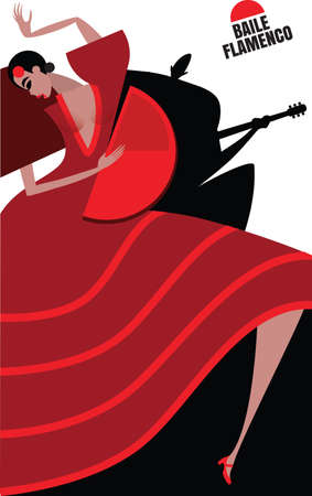 fan dance: Vector illustration on white background featuring flamenco, couple, dancing woman and man playing on the guitar Illustration
