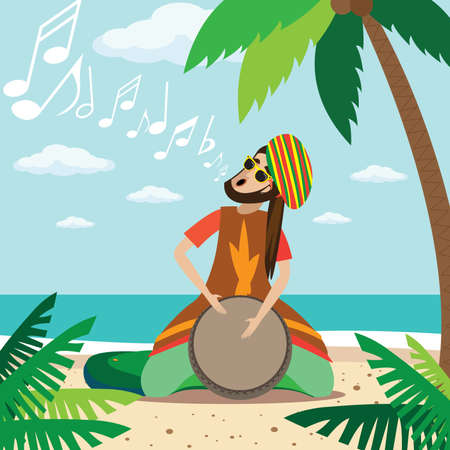 Vector illustration on color background featuring rasta man sitting on the beach, plays on the drum and sings