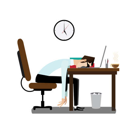 office break: Vector illustration on white background featuring evening, tired office man sleeping at working desk