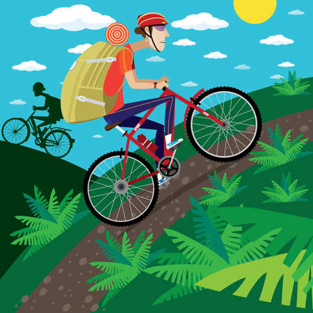 cycler: Vector illustration on color background featuring cycler in the mountains with backpack