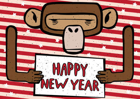 variegated: Congratulations cartoon Happy New Year 2016 monkey with red stripes Illustration